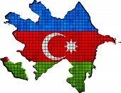Постер, плакат: Azerbaijan Map With Flag Inside