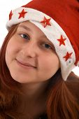 Red-Haired Girl In The Christmas Cap