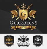 Постер, плакат: Shield And Two Guardians With Cross Knight Crest Logo Template