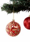 picture of xmas tree  - christmas balls hanging on a xmas tree branch over white - JPG