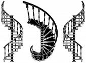 picture of spiral staircase  - Decorative High Detail Spiral Staircase Isolated Illustration Vector - JPG