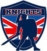 Knight sword and shield British flag