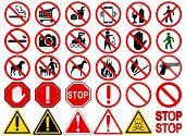 Постер, плакат: Set of Signs for Different Prohibited Activities