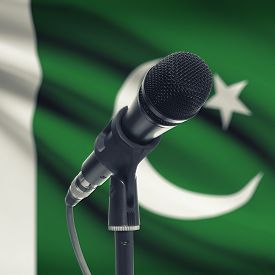 pic of pakistani flag  - Microphone with national flag on background series  - JPG