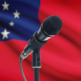picture of samoa  - Microphone with national flag on background series  - JPG