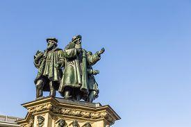 picture of frankfurt am main  - The Johannes Gutenberg monument on the southern Rossmarkt (1854 - 1858 by sculptor Eduard Schmidt von der Launitz). Johannes Gutenberg - inventor of book printing. Frankfurt am Main Germany. ** Note: Visible grain at 100%, best at smaller sizes - JPG