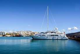 picture of piraeus  - Tranquil Scene in a Clear Day with few yachts in Marina Zeas Piraeus Greece
