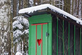 picture of outhouse  - Rural old outhouse in winter - JPG