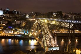 image of dom  - Night view of Dom Luis Bridge over Duoro river in City of Porto Portugal - JPG