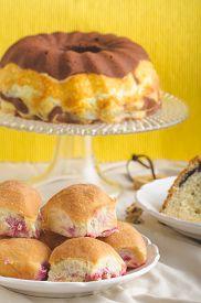 foto of grandma  - Poppy seeds cake stuffed buns homemade like from grandma - JPG