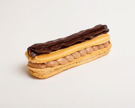 picture of eclairs  - An eclair with dark chocolate on white background  - JPG