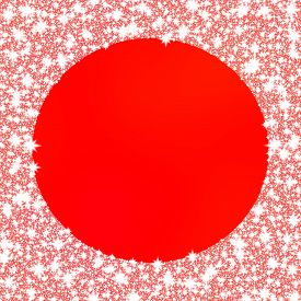 image of monochromatic  - Decorative frozen frame on red monochromatic background with circle space for any content - JPG