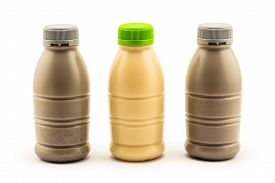 picture of soybeans  - Bottle of soybean milk and soybean milk with black sesame on white background - JPG