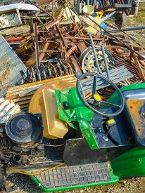 picture of scrap-iron  - the scrap heap of broken and rusty iron  - JPG