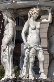 picture of trident  - The Fountain of Neptune in Naples Italy was built by Giovanni Domenico D - JPG