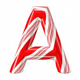 picture of desert christmas  - Mint hard candy cane 3d alphabet collection striped in Christmas colours - JPG