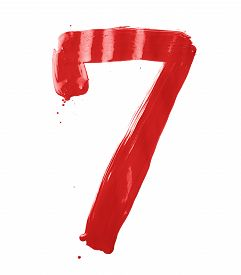 picture of number 7  - Number seven digit character hand drawn with the oil paint brush strokes isolated over the white background - JPG