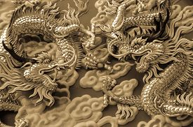 stock photo of dragon  - The two dragons look formidable when they are fighting - JPG