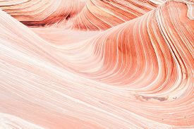 stock photo of coyote  - The Wave is an awesome vivid swirling petrified dune sandstone formation in Coyote Buttes North - JPG