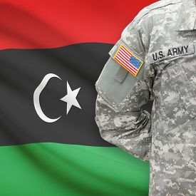 foto of libya  - American soldier with flag on background series  - JPG
