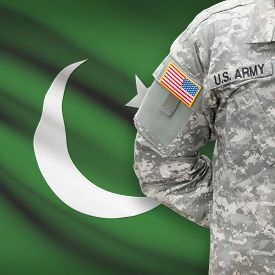 picture of pakistani flag  - American soldier with flag on background series  - JPG