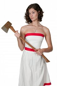 picture of possession  - Beautiful possessed woman in a trance holding an axe - JPG