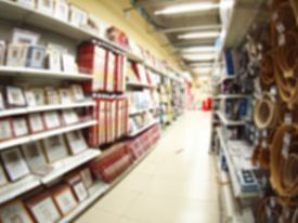 foto of distort  - Blurred and defocused view of the shelf in the store with a variety of products with wide angle fisheye lens and distortion view for use as a background - JPG