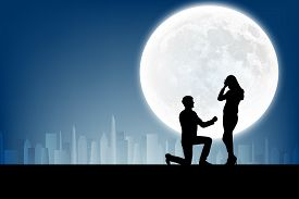 image of moon silhouette  - silhouette of man makes a proposal a silhouette woman on the full moon background - JPG