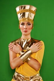 stock photo of pharaohs  - Portrait of beautiful egyptian woman in costume of the Pharaoh - JPG