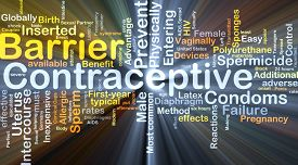 pic of contraceptives  - Background concept wordcloud illustration of barrier contraceptive glowing light - JPG