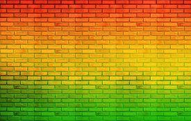 stock photo of reggae  - green red yellow brick Wall background  - JPG