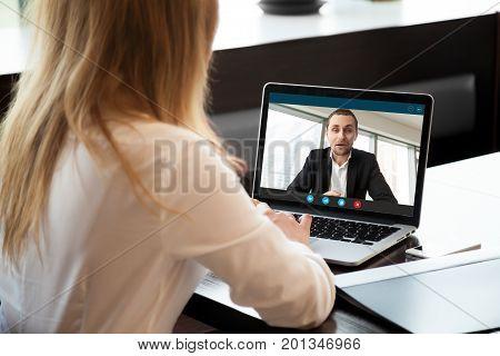 Businesswoman making video