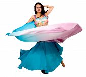 picture of belly-dance  - Beautiful arabic belly dancer over a white background - JPG