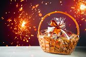 gift basket with festive sparklers particles poster