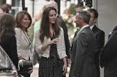 LONDON, ENGLAND - APRIL 28: Kate Middleton (C) arrives with her mother Carole Middleton at the Gorin