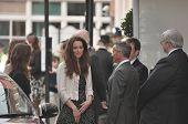 LONDON, ENGLAND - APRIL 28: Kate Middleton (C) arrives with family members at the Goring Hotel on th