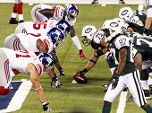 EAST RUTHERFORD, NJ - AUGUST 16: New York Jets players play against the New York Giants at the new M