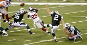 EAST RUTHERFORD, NJ - AUGUST 16: New York Jets Kicker Nick Folk in action against the New York Giant