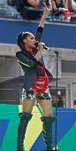 FLUSHING, NY - AUGUST 28: Singer Shontelle performs at Arthur Ashe Kids' Day at the Billie Jean King National Tennis Center on August 28, 2010 in Flushing, New York.
