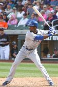 SCOTTSDALE, AZ - MARCH 7: Los Angeles Dodgers outfielder Eugenio Velez takes a swing against the Col