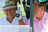 ORLANDO, FL - MARCH 23: Arnold Palmer and Tom Ridge during a practice round at the Arnold Palmer Inv