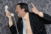 Angry nerd businessman retro telephone call shouting profile wallpaper