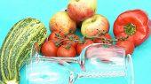 Wine Glasses With Fruit  Veg poster
