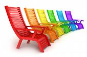 3D Illustration of Colorful Beach Chairs