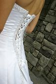detail of the back of gorgeous,wedding dress  very clear