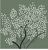 white tree on green vector