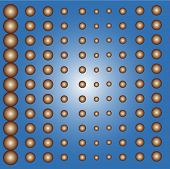 radial copper balls on blue  vector