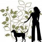 illustration woman walking dog