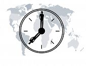 world map with man and woman silhouette as clock hands