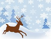 snowfall with reindeer